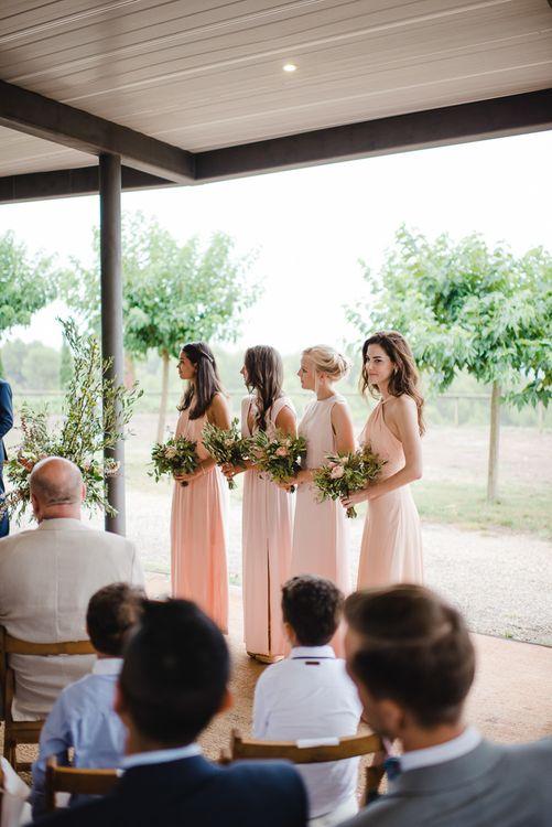 Wedding Ceremony   Pink Bridesmaids Dresses
