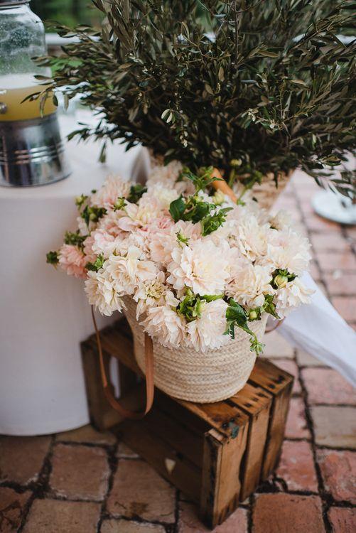 Basket of Pink Flowers Wedding Decor