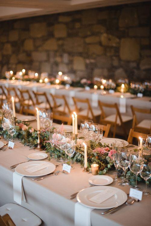 Candle lit Floral Centrepiece Table Scape