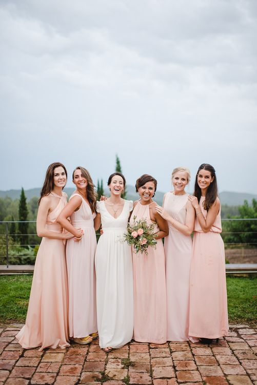 Bride & Bridesmaids in Pink Dresses