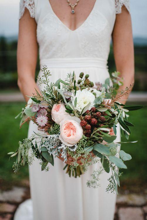 Greenery, Fruits & Pink Flower Wedding Bouquet