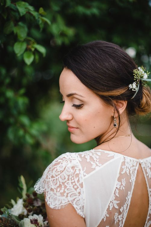 Elegant Bridal Up Do & Lace Back Bridal Gown