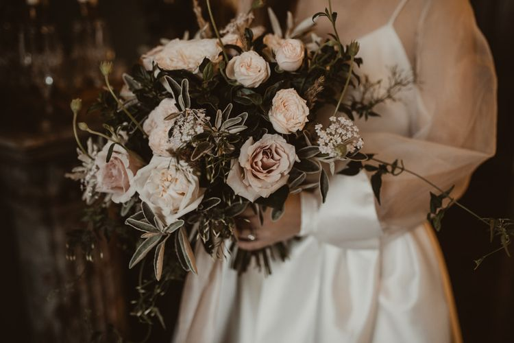 Romantic Pink Roses & Foliage Wedding Bouquet | Romantic Pink and Gold Wedding Inspiration in a Modern Summer House at Garthmyl Hall by KnockKnockPenny Studio | Nesta Lloyd Photography