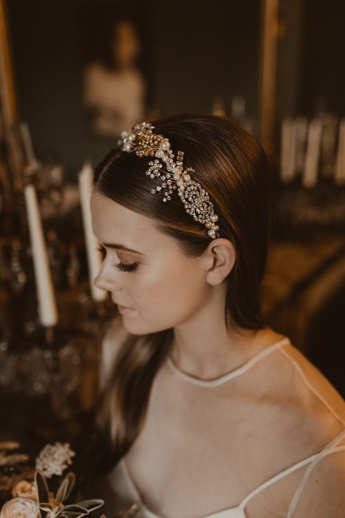 Intricate Gold & Sparkle Bridal Headdress | Romantic Pink and Gold Wedding Inspiration in a Modern Summer House at Garthmyl Hall by KnockKnockPenny Studio | Nesta Lloyd Photography