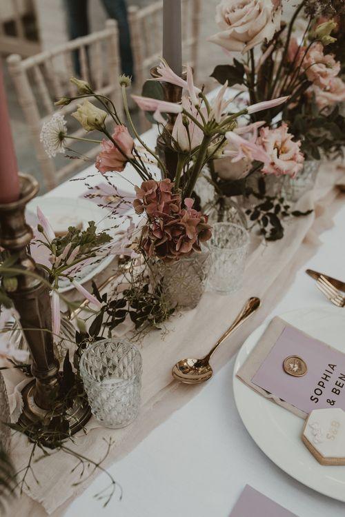 Tablescape with Blush Pink Flowers, Cut Glass Vases & Gold Foil Wedding Stationery | Romantic Pink and Gold Wedding Inspiration in a Modern Summer House at Garthmyl Hall by KnockKnockPenny Studio | Nesta Lloyd Photography