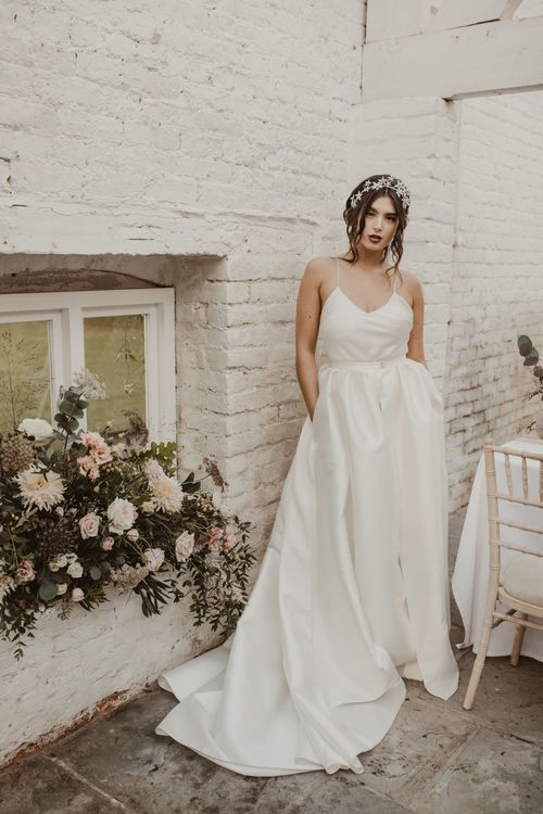 Bride in Spaghetti Strap Dress & Star Headpiece  | Romantic Pink and Gold Wedding Inspiration in a Modern Summer House at Garthmyl Hall by KnockKnockPenny Studio | Nesta Lloyd Photography