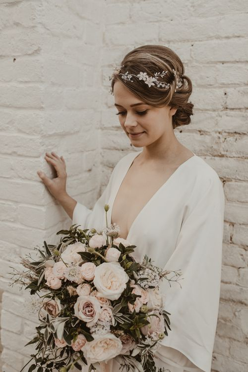 Beautiful Bride in Wrap Wedding Dress & Vine Headpiece | Romantic Pink and Gold Wedding Inspiration in a Modern Summer House at Garthmyl Hall by KnockKnockPenny Studio | Nesta Lloyd Photography