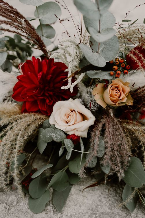 Pampas Grass, Eucalyptus & Red Rose Floral Arrangement | Wild Same Sex Couple Wedding Inspiration Shoot | Anne Letournel Photography