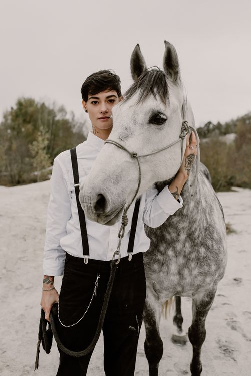 Horse | Bride in Black Trousers, White Shirt & Braces | Wild Same Sex Couple Wedding Inspiration Shoot | Anne Letournel Photography