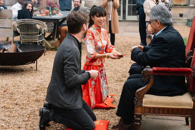 Outdoor Chinese tea ceremony at Aynhoe Park