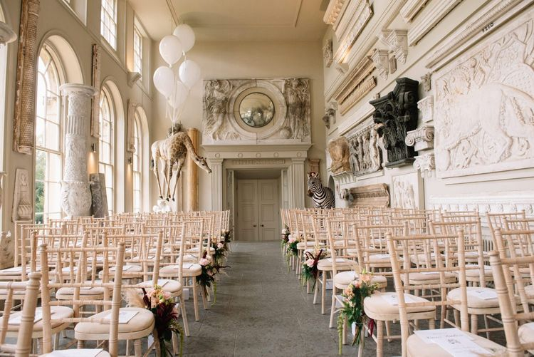 Infamous hanging giraffe and zebra at Aynhoe Park wedding venue