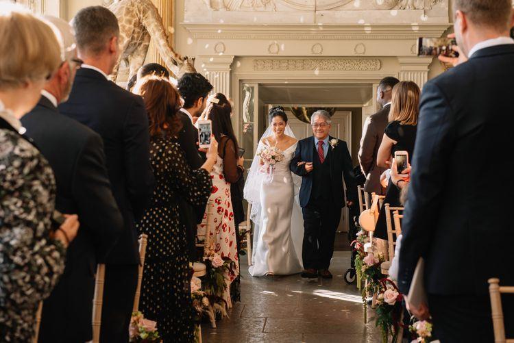 Wedding ceremony bridal entrance at Aynhoe Park