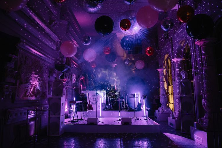 Evening reception at Aynhoe Park with Giant balloons, smoke machine and disco balls
