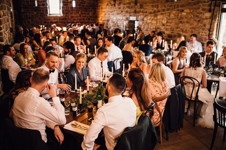 Guests enjoy pie and mash at Danby Castle wedding