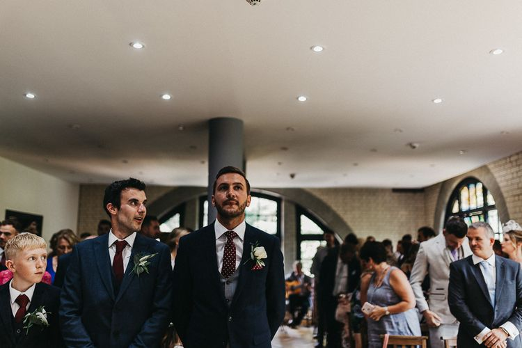 Wedding Ceremony | Groom in Navy Suit from Coneys of Lincoln | Nottinghamshire Wedding with Spanish Vibes and Rewritten Bridesmaids Dresses | Kev Elkins Photography