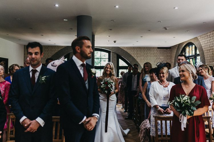 Wedding Ceremony | Bride in Lace Racerback Essence of Australia Wedding Dress | Groom in Navy Suit from Coneys of Lincoln | Nottinghamshire Wedding with Spanish Vibes and Rewritten Bridesmaids Dresses | Kev Elkins Photography