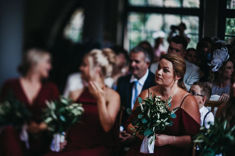 Wedding Ceremony | Bridesmaids in Burgundy Rewritten Dresses | Nottinghamshire Wedding with Spanish Vibes and Rewritten Bridesmaids Dresses | Kev Elkins Photography