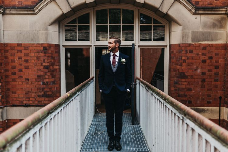 Wedding Morning Preparations | Groom in Navy Suit from Coneys of Lincoln | Burgundy Polka Dot Tie | Nottinghamshire Wedding with Spanish Vibes and Rewritten Bridesmaids Dresses | Kev Elkins Photography