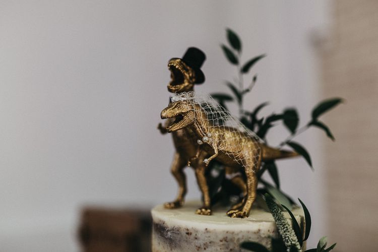 Cake Topper | Gold Bride and Groom Dinosaurs | Nottinghamshire Wedding with Spanish Vibes and Rewritten Bridesmaids Dresses | Kev Elkins Photography
