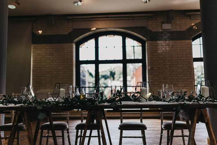 Wedding Reception Decor | Top Table | Nottinghamshire Wedding with Spanish Vibes and Rewritten Bridesmaids Dresses | Kev Elkins Photography