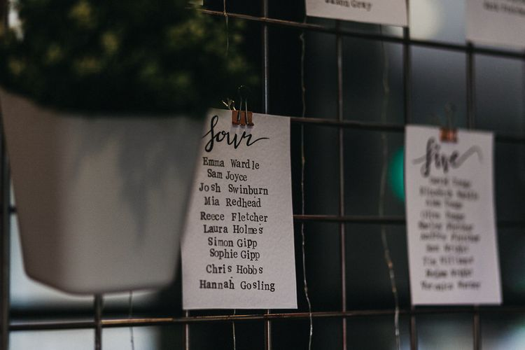 Wedding Reception Decor | Table Plan | Nottinghamshire Wedding with Spanish Vibes and Rewritten Bridesmaids Dresses | Kev Elkins Photography