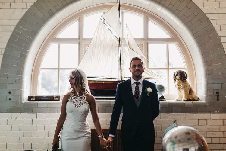 Bride in Lace Racerback Essence of Australia Wedding Dress | Groom in Navy Suit from Coneys of Lincoln | Nottinghamshire Wedding with Spanish Vibes and Rewritten Bridesmaids Dresses | Kev Elkins Photography