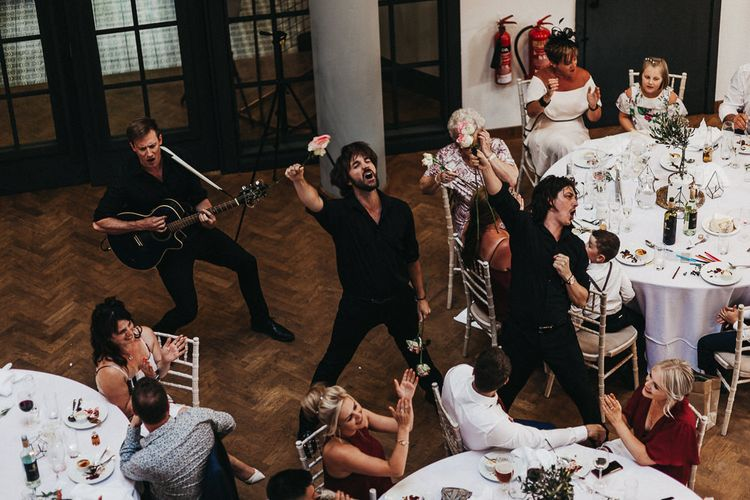 Singing Waiters | Nottinghamshire Wedding with Spanish Vibes and Rewritten Bridesmaids Dresses | Kev Elkins Photography