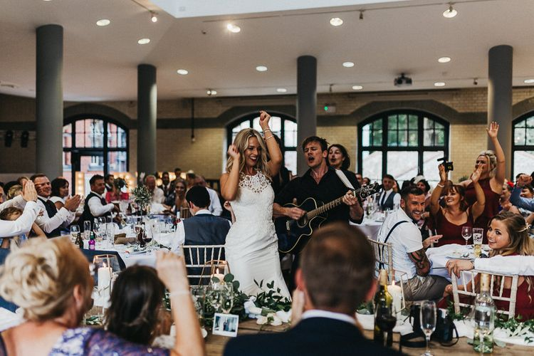 Singing Waiters | Bride in Lace Racerback Essence of Australia Wedding Dress | Nottinghamshire Wedding with Spanish Vibes and Rewritten Bridesmaids Dresses | Kev Elkins Photography