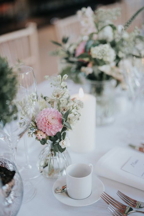 Bodleian library reception decor for intimate Oxford wedding with white floral decor and classic styling