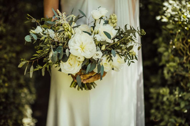 White Wedding Bouquet // Bermondsey Yard Cafe Wedding With Architect Bride In Andrea Hawkes & Groom In Paul Smith Images From Michelle Wood Photographer