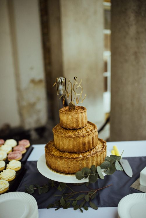 Pork Pie Wedding Cake // Bermondsey Yard Cafe Wedding With Architect Bride In Andrea Hawkes & Groom In Paul Smith Images From Michelle Wood Photographer