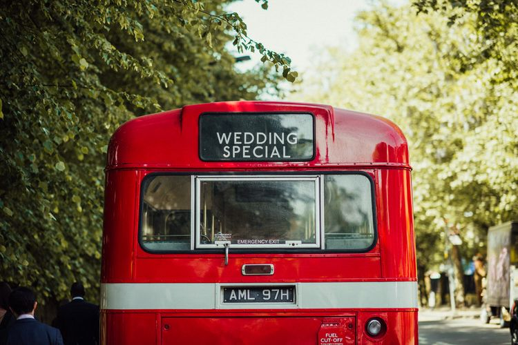 Red London Bus Wedding Transport // Bermondsey Yard Cafe Wedding With Architect Bride In Andrea Hawkes & Groom In Paul Smith Images From Michelle Wood Photographer