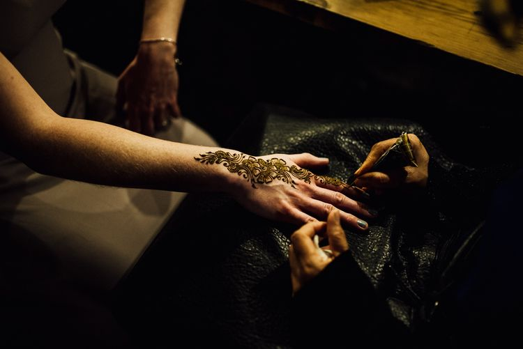 Henna For Guests // Bermondsey Yard Cafe Wedding With Architect Bride In Andrea Hawkes & Groom In Paul Smith Images From Michelle Wood Photographer