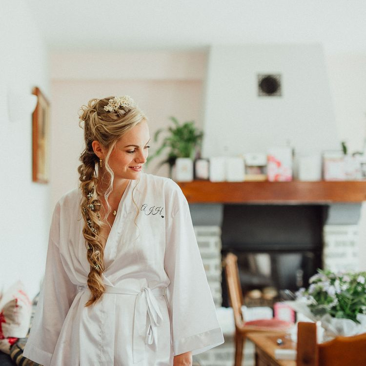 Bridal Morning Preparations | White Getting Ready Robe | Loose Fishtail Plait with Gypsophilia | Homemade Hair Comb | Rustic French Destination Wedding with Homegrown Flowers  | Emily & Steve Photography