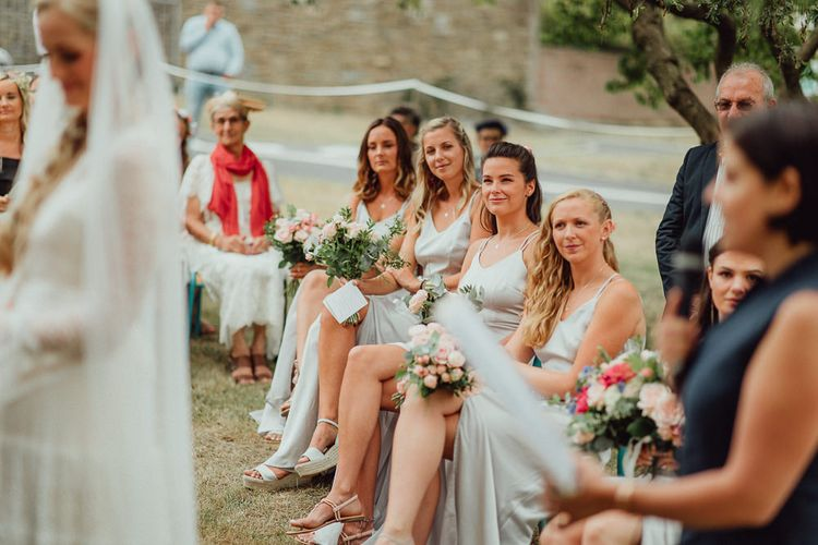 Wedding Ceremony | Bridesmaids in Grey Silk Fred Dresses | Rustic French Destination Wedding with Homegrown Flowers  | Emily & Steve Photography