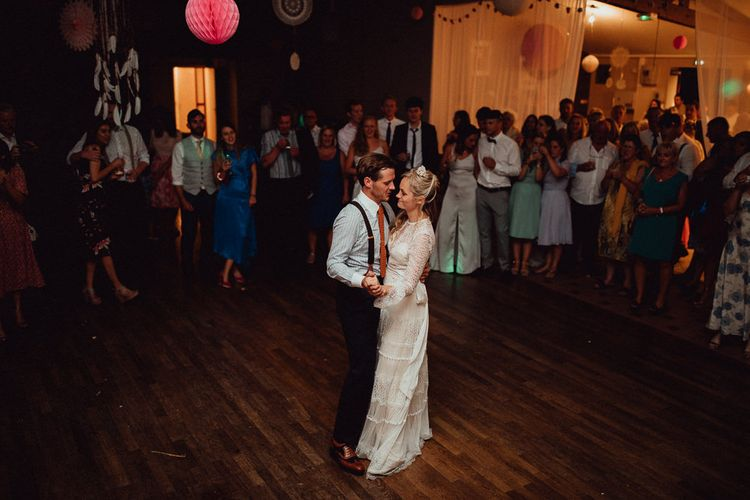 First Dance | Bride in Laced Catherine Deane Wedding Dress with Long Sleeves | Groom in Blue Thomas Farthing Suit with Ochre Tie | Rustic French Destination Wedding with Homegrown Flowers  | Emily & Steve Photography