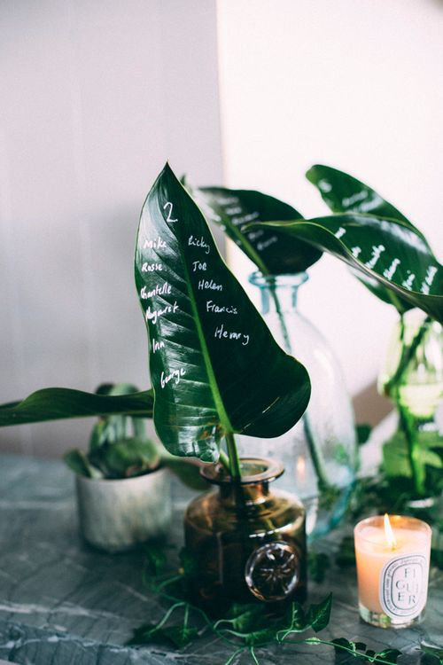 Palm Leaf Table Plan For Wedding // A Thing Like That Photography