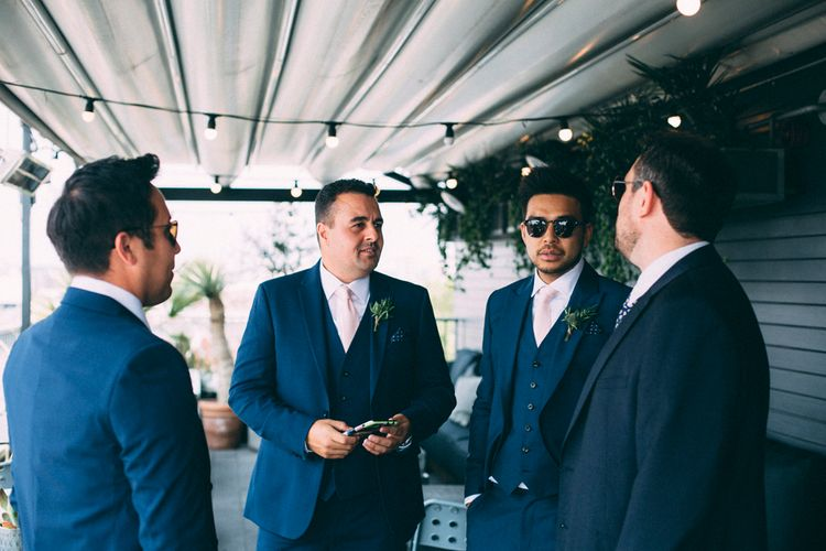 Groom And Groomsmen In Navy Suits // A Thing Like That Photography