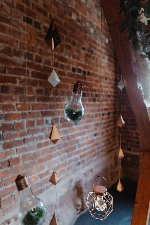 Geometric Wedding Decor, Bulbs and Lanterns