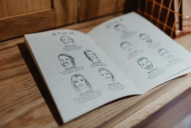 Order of Service with Illustrations of Wedding Party