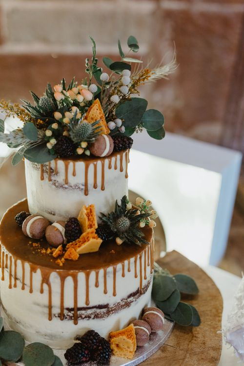 Drip, Semi-Naked Wedding Cake with Foliage Topper and Decor