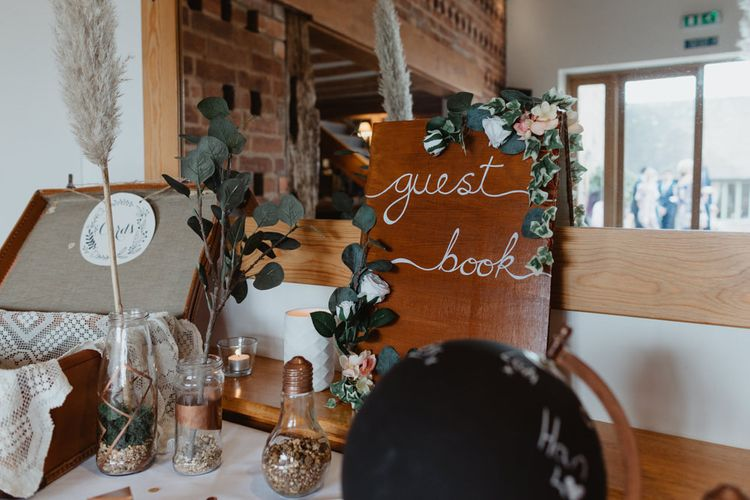 Guest book Table and Wooden Wedding Sign