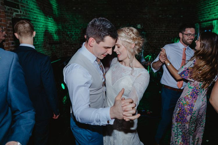 First Dance with Bride in Lace Allure Bridals Wedding Dress and Groom in Waistcoat