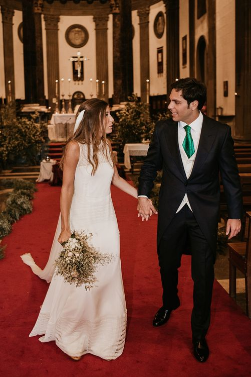 Church Wedding Ceremony | Bride in Simple & Elegant Teresa Helbig Wedding Dress  | Groom in Traditional Tails | Authentic Spanish Wedding at Masia Ribas, Barcelona | Sara Lobla Photography