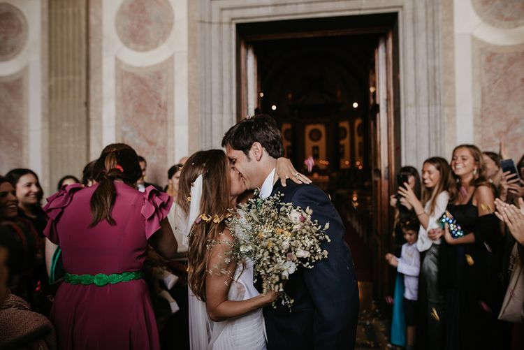 Confetti Exit | Bride in Simple & Elegant Teresa Helbig Wedding Dress  | Groom in Traditional Tails | Authentic Spanish Wedding at Masia Ribas, Barcelona | Sara Lobla Photography
