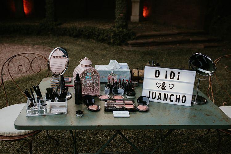 Makeup Stand | Authentic Spanish Wedding at Masia Ribas, Barcelona | Sara Lobla Photography