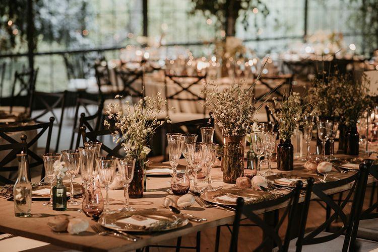 Wedding Reception Flowers | Wedding Decor | Authentic Spanish Wedding at Masia Ribas, Barcelona | Sara Lobla Photography