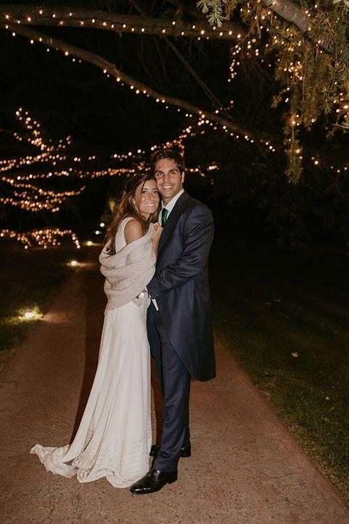 Fairy Lights | Bride in Simple & Elegant Teresa Helbig Wedding Dress  | Groom in Traditional Tails | Authentic Spanish Wedding at Masia Ribas, Barcelona | Sara Lobla Photography