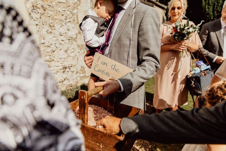 Confetti box and sign at Norfolk barn wedding