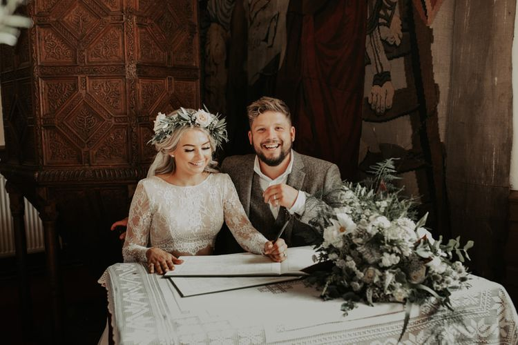 Church ceremony with white floral decor